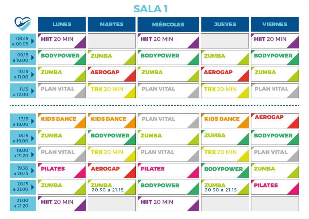 horario de actividades deportivas sala 1