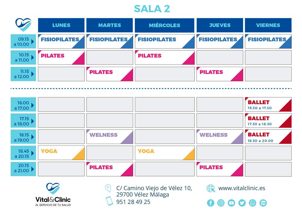 horario de actividades deportivas sala 2