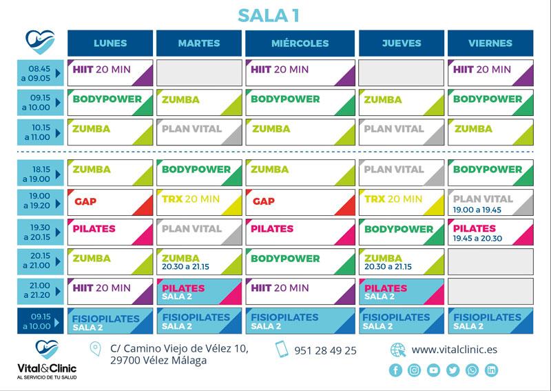 Horario de actividades de Vital&Sport