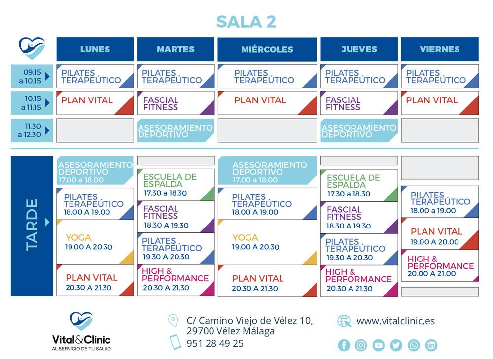 horario de actividades deportivas en vitalclinic
